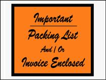 "4 1/2 x 6"" ""Important Packing List/ Invoice"