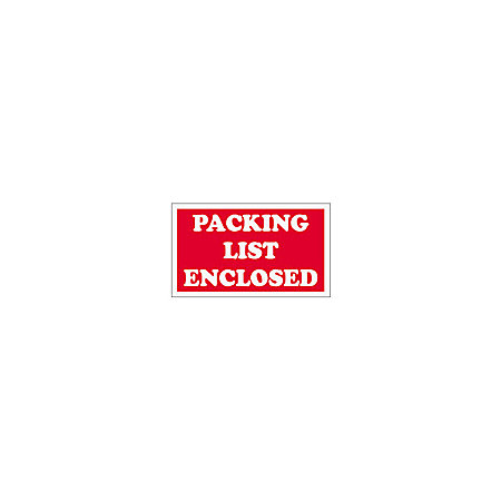 "3 x 5"" - ""Packing List Enclosed"" Labels, Red"