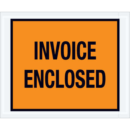 "4 1/2 x 5 1/2"" Orange ""Invoice Enclosed"" Envelopes"